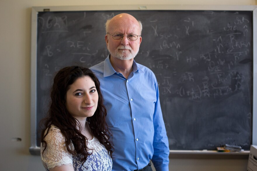 Ariella Yosafat, president of the MIT Active Minds chapter, and MIT physics professor John Belcher.