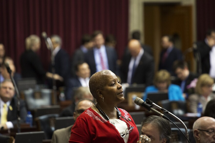 Bonnaye Mims, D-Kansas City, speaks on the last day of the legislative session.