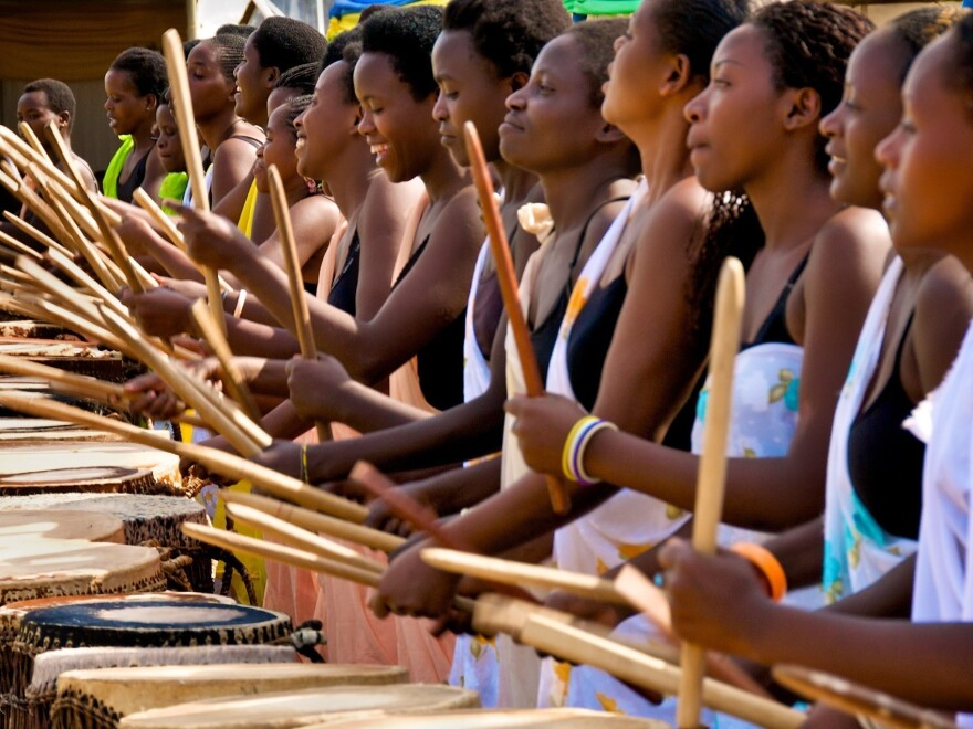 Ingoma Nysha is Rwanda's first-ever women's drumming group. Historically women in Rwanda were forbidden to touch the sacred cowhide drum.