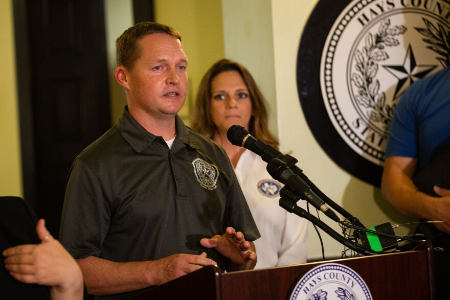 SAN MARCOS, TX. March 15, 2020. Hays County Epidemiologist Eric Schneider speaks during a joint press conference at the Hays County Courthouse declaring a state of disaster. Michael Minasi/KUT