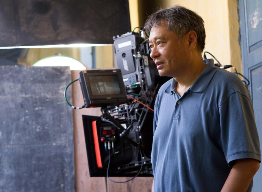 Director Ang Lee on the set of <em>Life of Pi</em>.