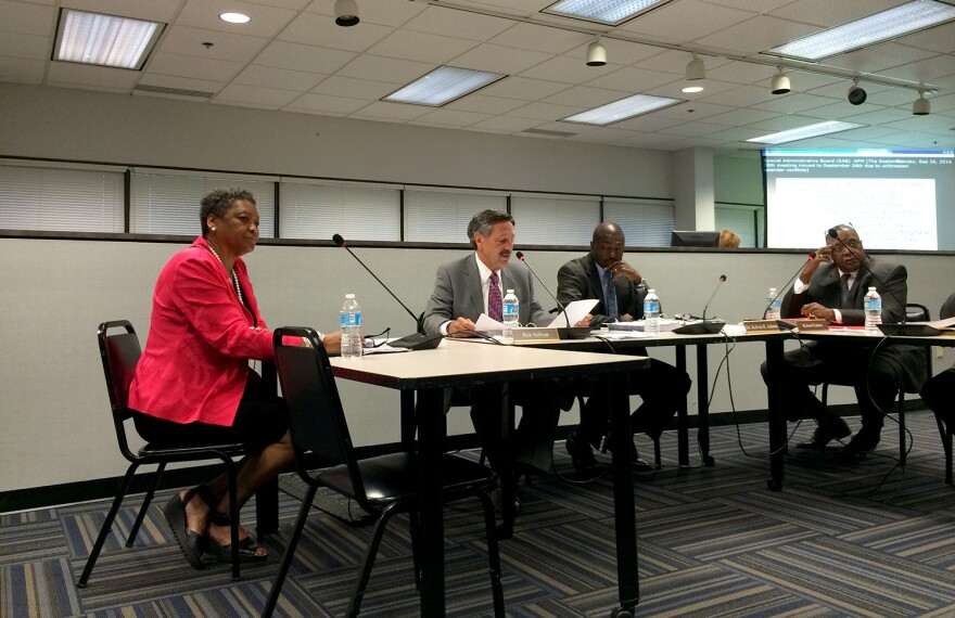 Darnetta Clinkscale, left, joins Rick Sullivan and Richard Gaines (right) on the SAB board for her first meeting Sept. 26, 2016.