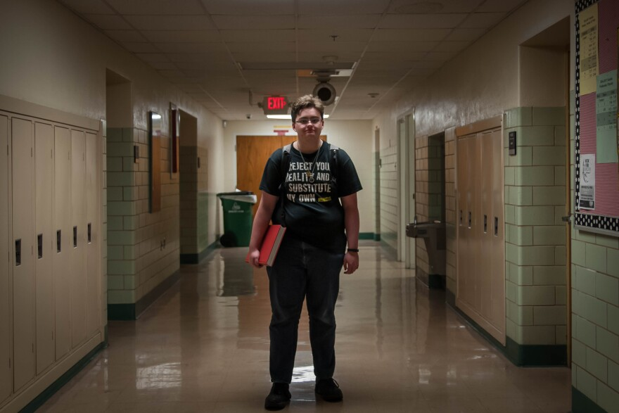 Max Chappell, 18, transitioned to male while a student at Kirkwood High School. The school's Gay-Straight Alliance worked with administrators to have staff bathrooms changed to gender-neutral restrooms.