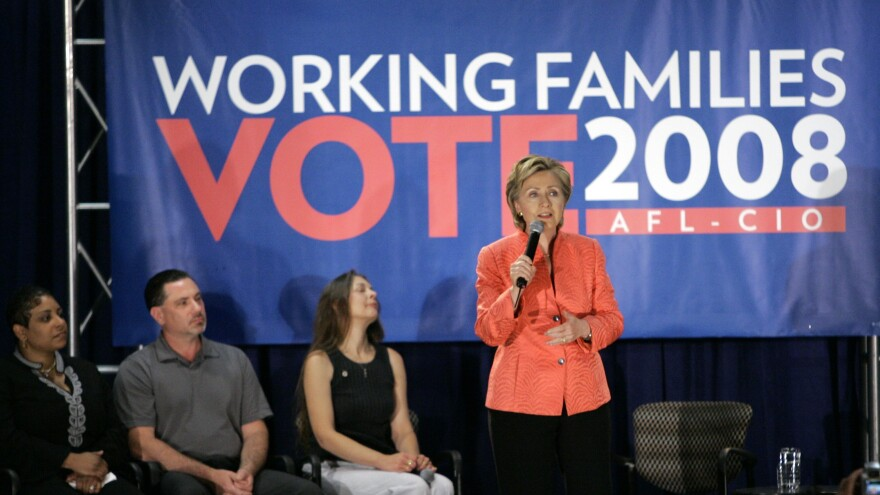 Hillary Clinton addresses a town hall hosted by the AFL-CIO in Detroit in 2007. During the 2008 campaign, Clinton said the U.S. should take a timeout on trade deals after supporting NAFTA in the 1990s.