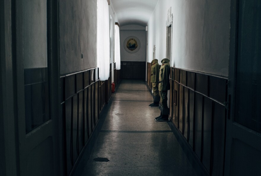 Mannequins dressed in the uniforms of soldiers stand outside the room where Nicolae and Elena Ceaușescu were kept awaiting their trial from Dec. 22-25, 1989. They were executed on Christmas Day after a trial that lasted less than an hour.
