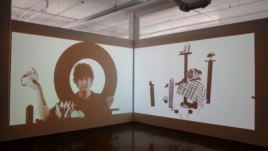 Installation view of Joey Fauerso's video Teardowns for her current exhibition Teardowns at Blue Star Contemporary.