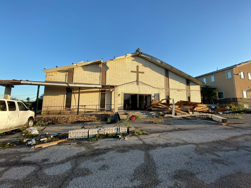 A church in Northwest Dallas damaged in Sunday's tornado.
