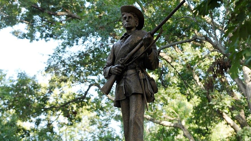 """The Confederate soldier """"Silent Sam"""" statue seen in 2017. Protesters toppled it last week and protesters gathered again on Saturday."""