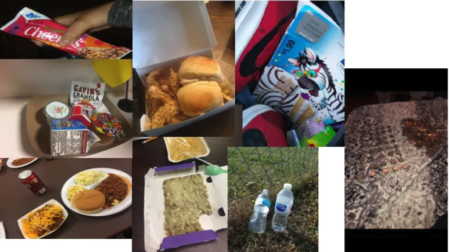 Photos of food, including Cheerios, fried chicken, barbecue and water bottles.