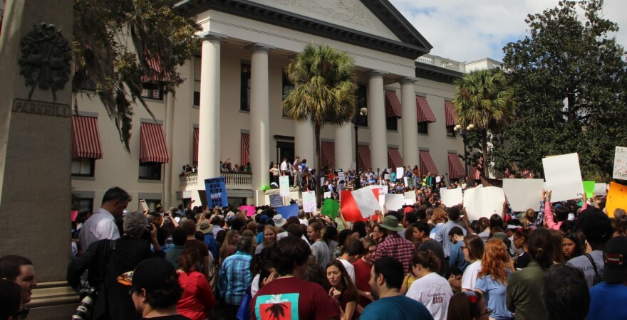 Thousands of people gathered at the Florida Capitol (2/21) demanding action on gun control in wake of Marjory Stoneman Douglas High School shooting.