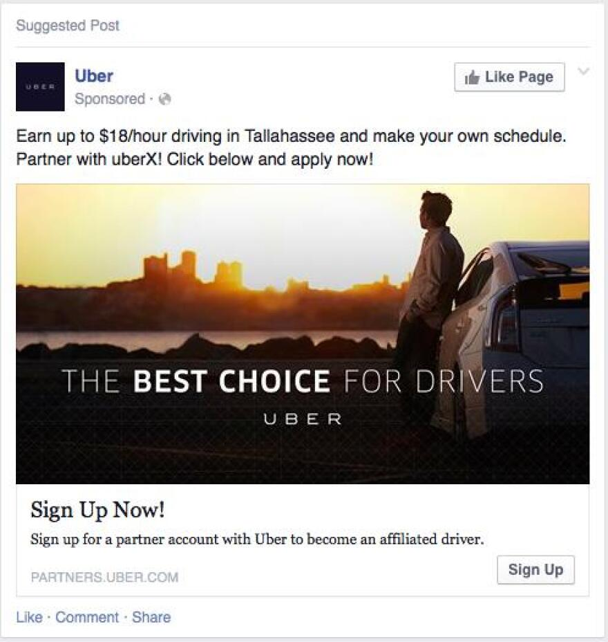 Uber driver ad