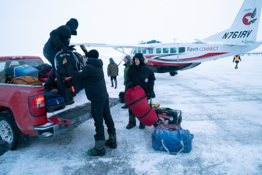 Census workers and their production crew arrive in Toksook Bay. The Census Bureau's workers rely on bush planes, snow machines, or snowmobiles, and dog sleds to get to Alaskan villages to ask people their name, sex, age, race and other demographic information.