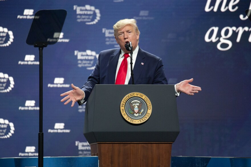 President Trump addresses the American Farm Bureau Federation's convention in Austin in January.