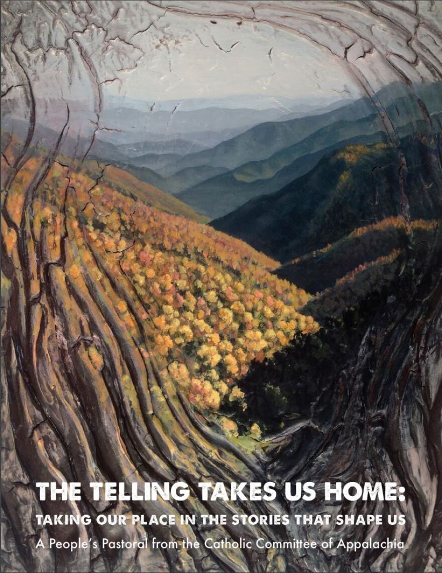 """Parkersburg native Christopher Santer's painting is the cover the the pastoral letter. It comes from a series called """"Mountains"""" that explores mountaintop removal. Other paintings from the series are throughout the letter."""