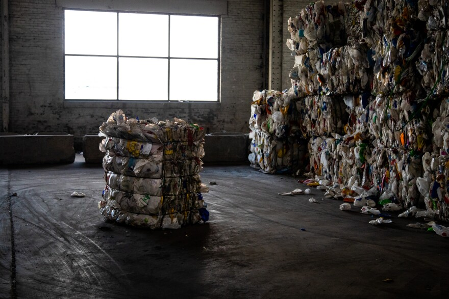 a photo of recycled material baled after sorting