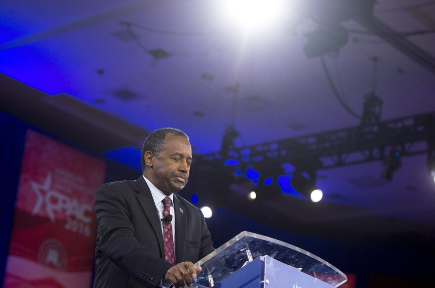 Ben Carson announced the end of his presidential bid on Friday at the annual Conservative Political Action Conference at National Harbor in Oxon Hill, Md.