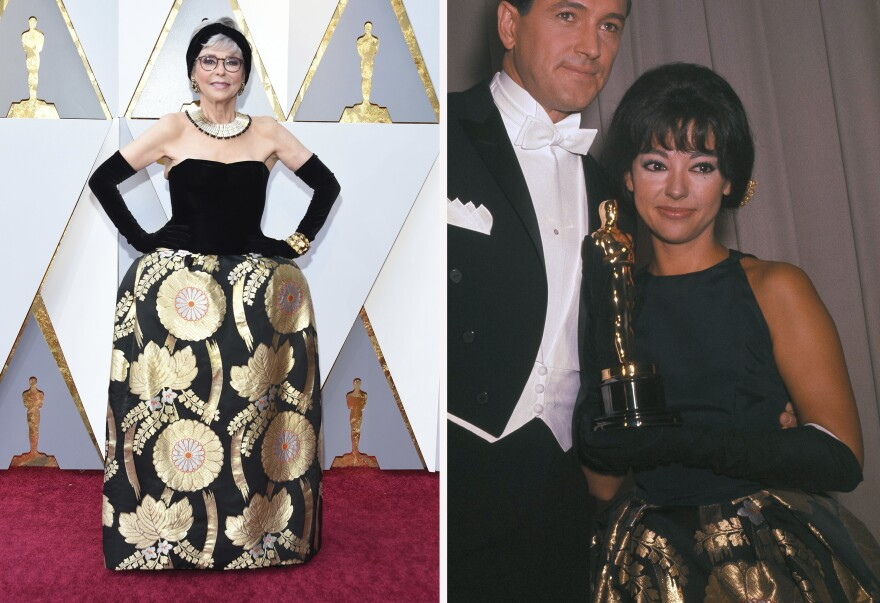 Rita Moreno, actress, singer and dancer, walked the red carpet wearing the same dress she wore to accept her Oscar in 1962 for <em>West Side Story</em>.