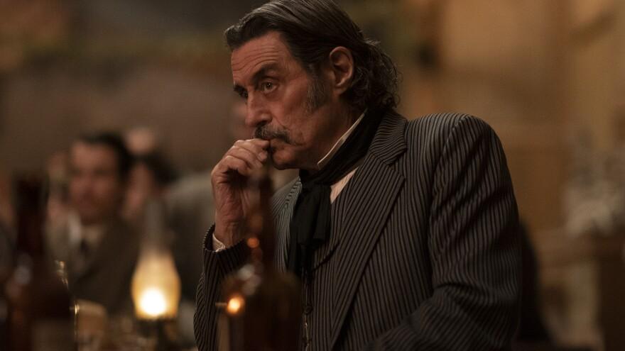 Foul-mouthed brothel owner Al Swearengen (Ian McShane) is back in HBO's <em>Deadwood: The Movie.</em>
