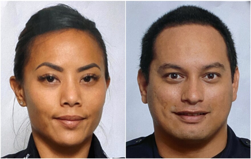 This undated photo provided by the Honolulu Police Department shows Officers Tiffany Enriquez (left) and Kaulike Kalama. They were killed Sunday while responding to a call.