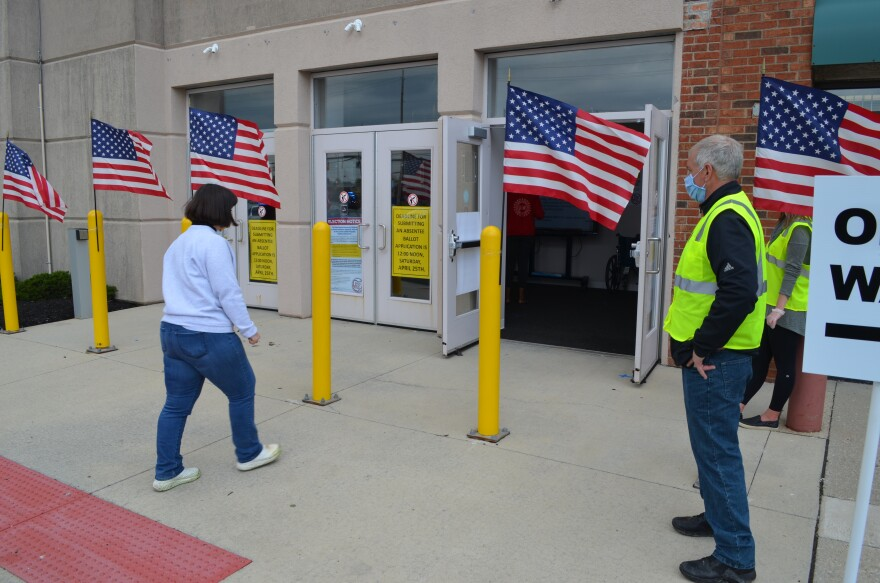 A voter walks into the Franklin County Board of Elections in Columbus to cast a provisional ballot on April 28, the last day of the extended March 17 primary.