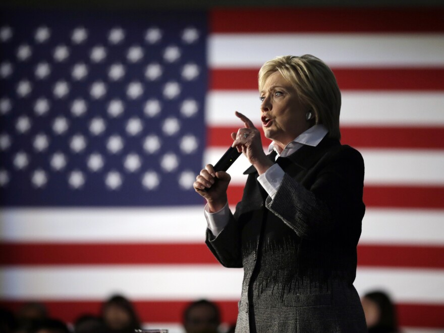 Hillary Clinton speaks at the Charles H. Wright Museum of African American History in Detroit. She again hopes black support pushes her over the top in Michigan.