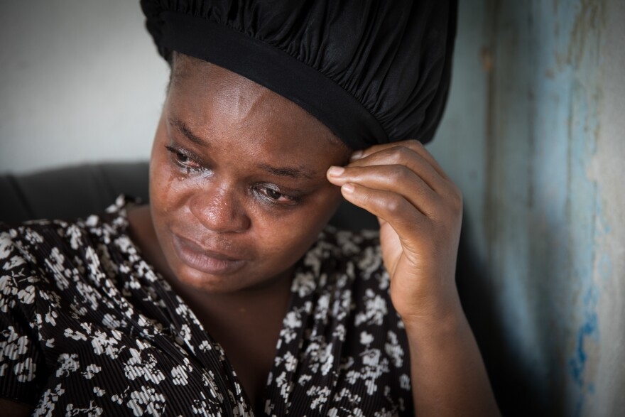 Sherrine Petit Homme LaFrance weeps as she recounts how her relatives who live in Nassau turned their backs on her after her home was decimated by Hurricane Dorian.