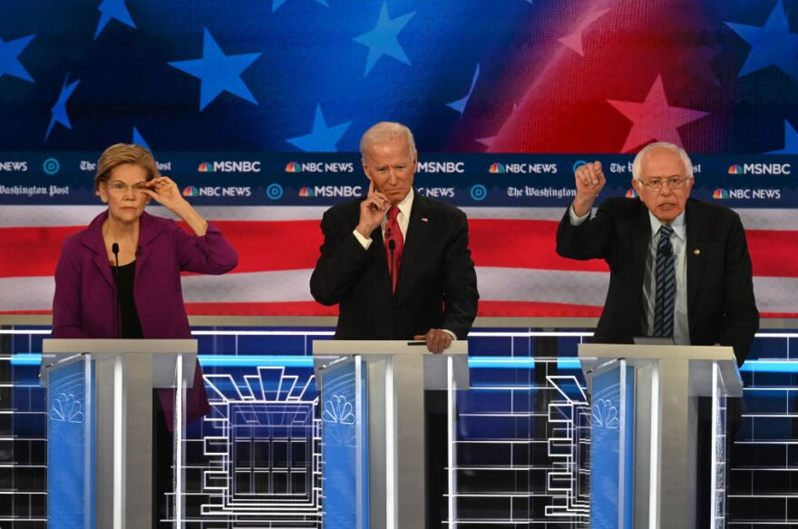 As Democratic presidential candidates prepare to debate again on Tuesday night, health care proposals are likely to come up, as they did during the November 20 debate. Presidential candidate Sen. Elizabeth Warren, D-Mass., (left) Former vice president Joe Biden and Sen. Bernie Sanders, I-Vt., (right) will be among the candidates debating.