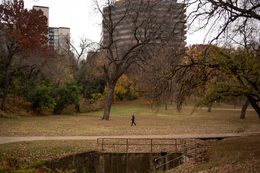 A woman walks among the trees at Reverchon Park in Dallas on Tuesday, Dec. 15.