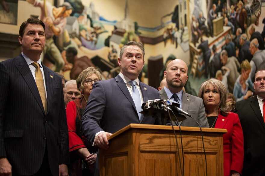 House Speaker Elijah Haahr and House Republicans speak to news reporters following the first day of the Missouri Legislative Session in Jefferson City. (Jan. 8, 2020)