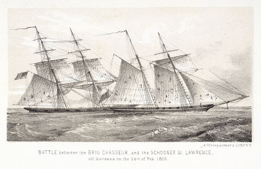 Chasseur capturing HMS St Lawrence, by Adam Weingartner