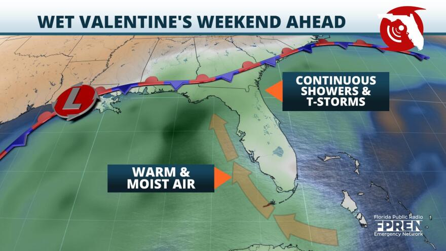 Rounds of Showers and Thunderstorms Expected over the Valentine's Day Weekend