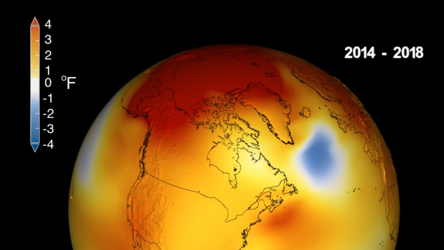 Earth's long-term warming, compared against a base line average from 1951 to 1980, can be seen in this visualization of NASA's global temperature record.