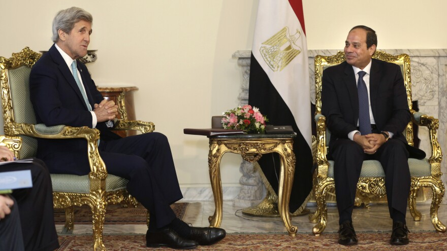 Egyptian President Abdel-Fattah el-Sissi (right), hosts U.S. Secretary of State John Kerry at the presidential palace in Cairo on Wednesday. Sissi has touted his ability to bring order, but the country has looked increasingly shaky recently.