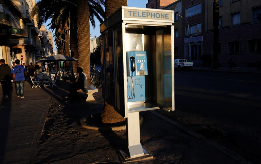 A public telephone booth in Asmara, Eritrea. Ethiopians and Eritreans called each other as phone lines that had been dormant for decades came to life.