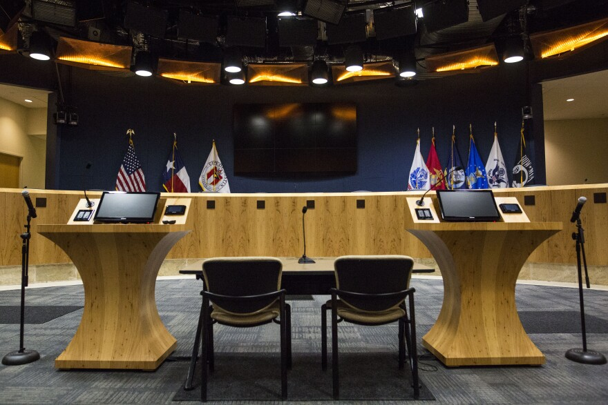 The City Council Chambers at Austin City Hall.