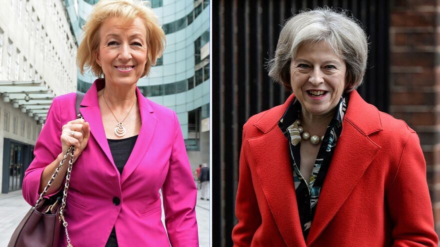 Andrea Leadsom (left) leaves the BBC television center in London on July 3; British Home Secretary Theresa May (right) leaves 10 Downing St. in London on Feb. 22. The two women were the last two candidates for prime minister; now Leadsom has dropped out.