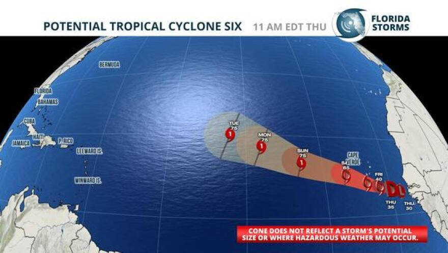 The first advisory and forecast from the National Hurricane Center on Potential Tropical Cyclone Six.