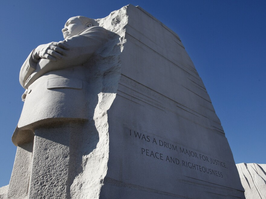 """The Martin Luther King, Jr. Memorial in Washington, D.C. Interior Secretary Ken Salazar endorsed a plan Tuesday to remove the disputed """"drum major"""" inscription from the memorial and replace it with a fuller version of the quote."""