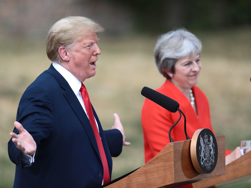 President Trump and Prime Minister Theresa May hold a press conference at Chequers, May's country home, on Friday.