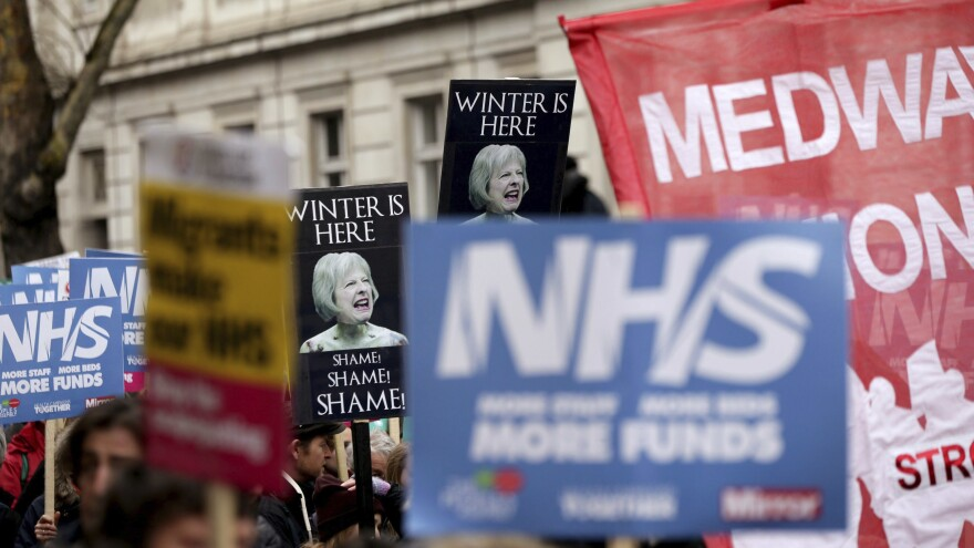 Protesters marched in London on Feb. 3 to demand more money for Britain's National Health Service, as winter conditions are thought to have put a severe strain on the system.