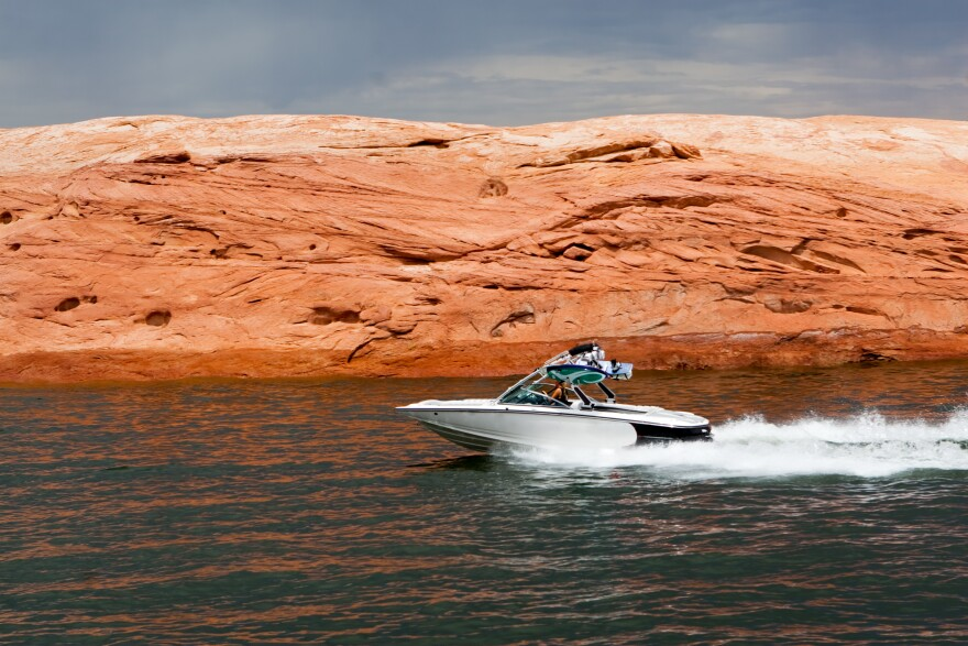 Photo of a speed boat on Lake Powell