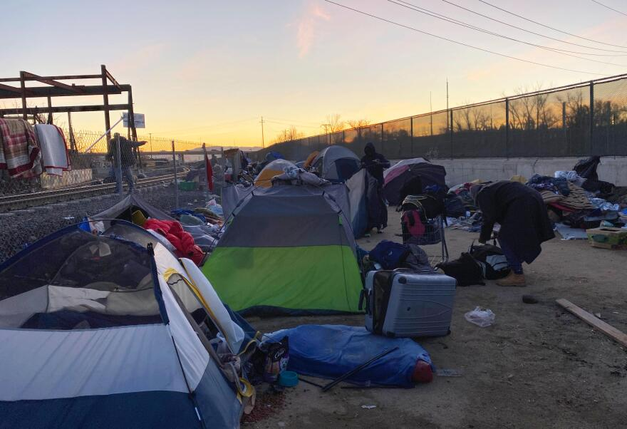 A tent city in Reno, Nev., where many homeless people lived, was photographed on March 4, 2020.