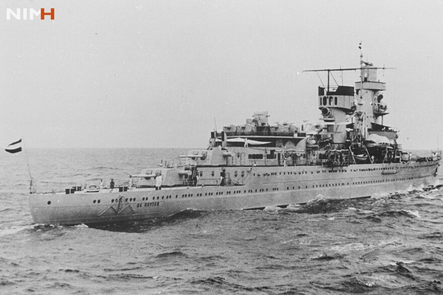 HNLMS De Ruyter before it sank in 1942.