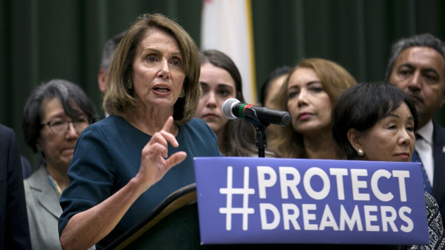 Rep. Nancy Pelosi, the top Democrat in the House, discusses immigration overhaul at California State University, Sacramento on Monday. Earlier, she was shouted down by young immigrants at an event in San Francisco.