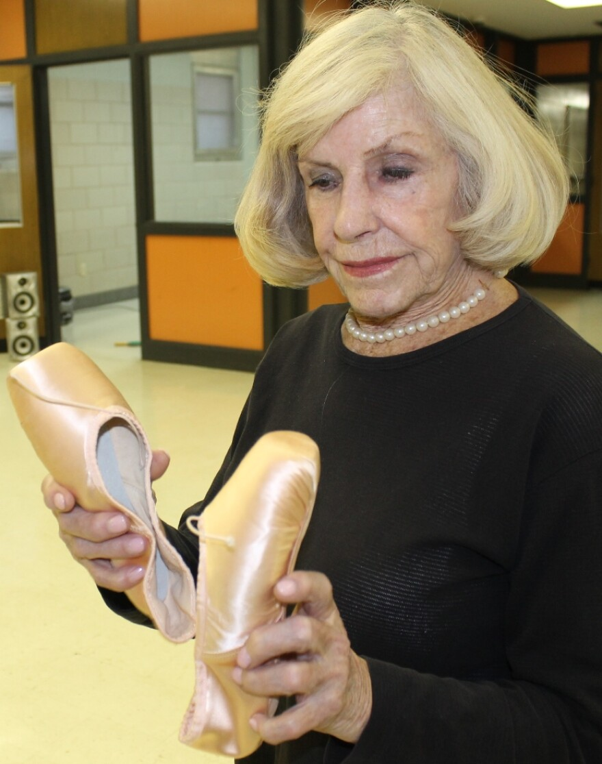 Elizabeth Herring recently bought this pair of satin toes shoes at Goodwill for $4.