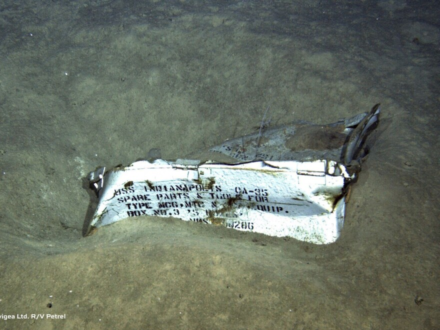 This undated image from a remotely operated underwater vehicle courtesy of Paul G. Allen, shows a spare parts box from the USS Indianapolis on the floor of the North Pacific Ocean.