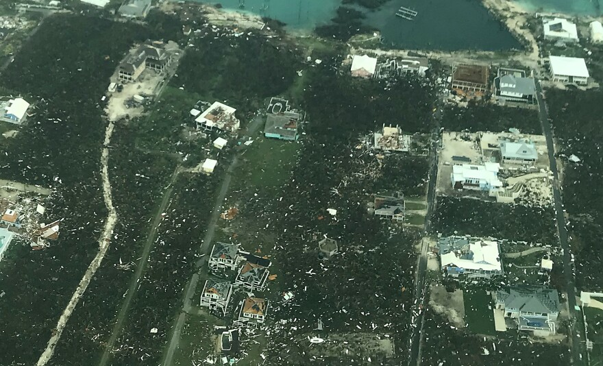 Part of the Abaco Islands were damaged by Hurricane Dorian, as seen on Tuesday in the Bahamas. The storm hit the island late Sunday as a Category 5 hurricane and then stalled.