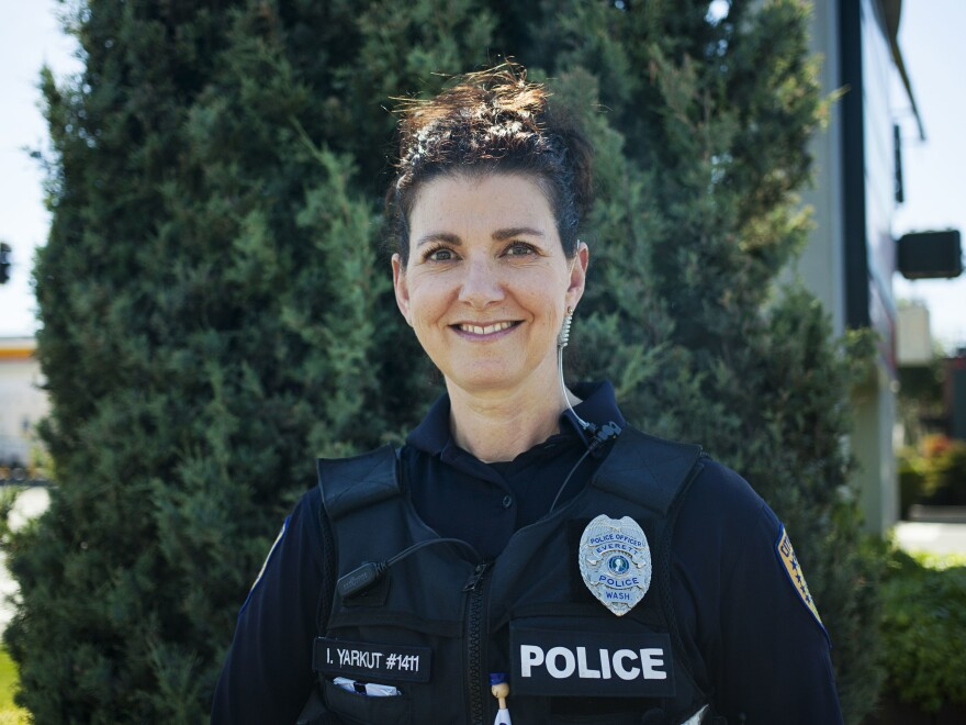 Police officer Inci Yarkut is part of a program in Everett, Wash. called the Community Outreach and Enforcement Team — they help connect homeless people who use drugs with services.