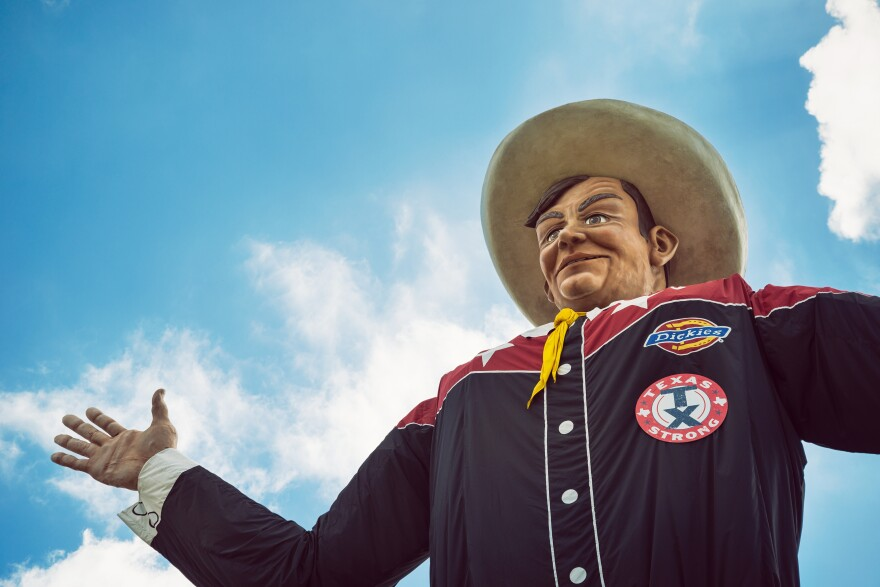 Big Tex greets visitors at the State Fair of Texas.