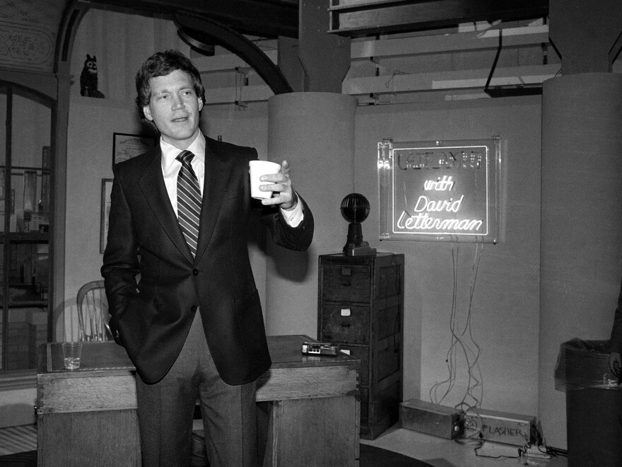 A young Letterman in NBC's Studio 6A in January of 1982, at a reception marking the launch of the new <em>Late Night with David Letterman</em>. He moved to CBS' <em>Late Show</em> in 1993.